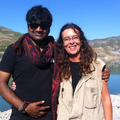 Con Harish Shankar durante el rodaje Nannaku Prematho en 2015