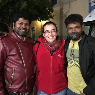 Con Sukumar y Vijay K. Chakravathy durante el rodaje Nannaku Prematho en 2015